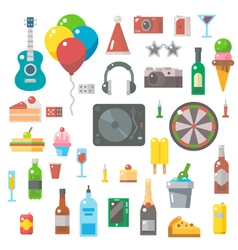 Flat design party items set vector
