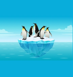 flock emperor penguins on ice floe in cold vector image