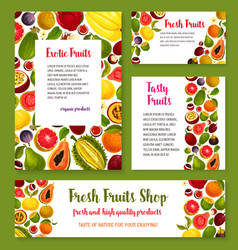 Fresh exotic tropical fruit banners vector
