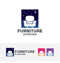 furniture evening logo design vector image