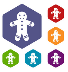 Gingerbread man icons set vector