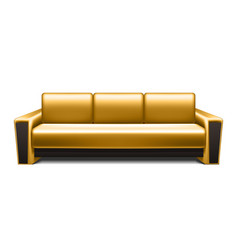 Gold leather sofa vector