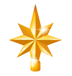 golden star on christmas tree isolated vector image