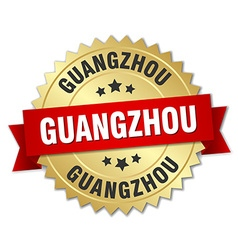 Guangzhou round golden badge with red ribbon vector