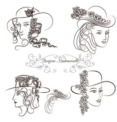 Hand drawn sketched female portraits vector