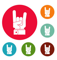 hand rock icons circle set vector image