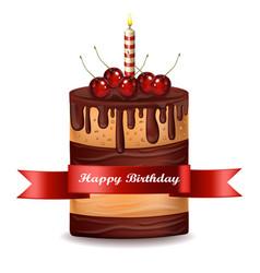 happy brithday cake chocolate cake vector image