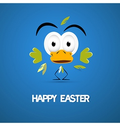 Happy Easter Blue Background with Abstract Chicken vector image