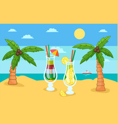 huge glass with exotic cocktail on tropical beach vector image