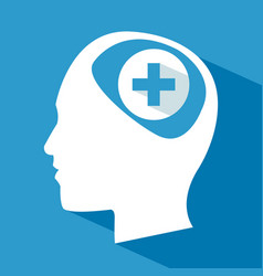 Human head brain care cross vector