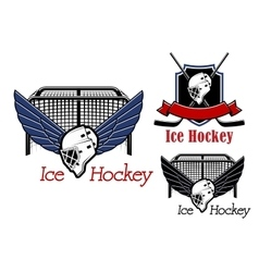 Ice hockey sports emblems and icons vector image