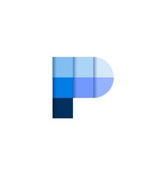 initial letter p square pixel logo design vector image