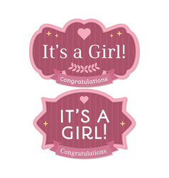 Its a girl babyborn pink label or badge vector
