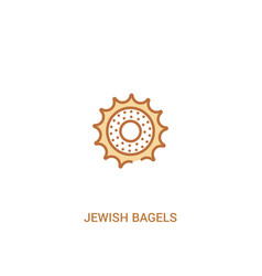 Jewish bagels concept 2 colored icon simple line vector