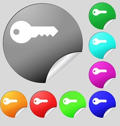 key icon sign Set of eight multi colored round vector image