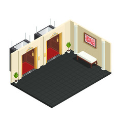 Lift lobby isometric interior vector