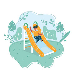 Little boy on slide vector