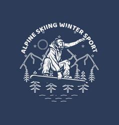 logo design alpine skiing winter sport with man vector image