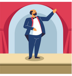 Man singing on opera stage or classical concert vector