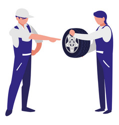 Mechanics workers with tire car characters vector
