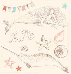 Mermaid Narwhal and Seashells Drawing Set vector