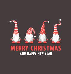 merry christmas postcard four christmas vector image
