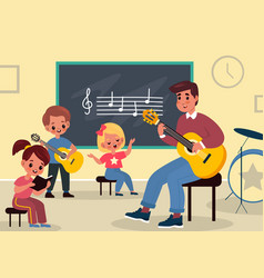 Music class learning young students listen vector