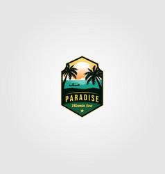 ocean tropical paradise logo vintage design vector image
