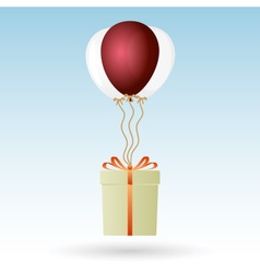 One big gift package soaring with helium balloons vector