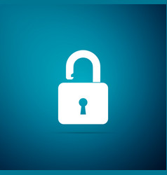 open padlock icon on blue background lock symbol vector image
