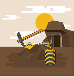 pickaxe extraction of gold vector image