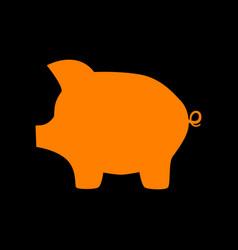 pig money bank sign orange icon on black vector image