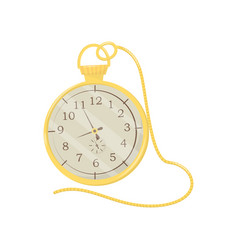 pocket watch with shiny golden case and long chain vector image