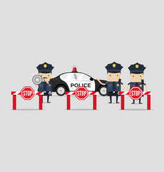 police are closing road vector image