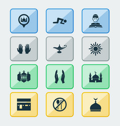 ramadan icons set with worship minaret oil and vector image