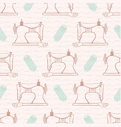 retro vintage sewing machine seamless pattern hand vector image