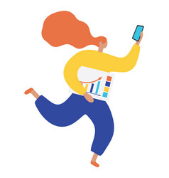 running business woman holding showing vector image