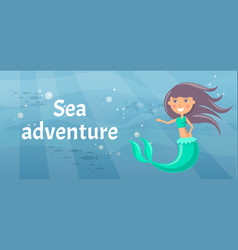 Sea adventure with marine wild nature mermaid vector