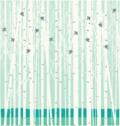 Seamless pattern with birch grove and birds vector