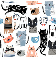 seamless pattern with different funny hand drawn vector image
