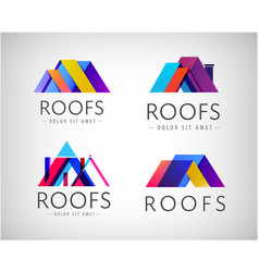 set colorful roof building logos vector image