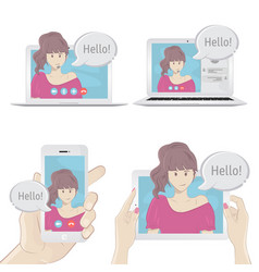Set gadgets to communicate with people vector