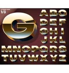 set golden 3d alphabet vector image