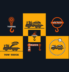 Set of tow truck icon vector
