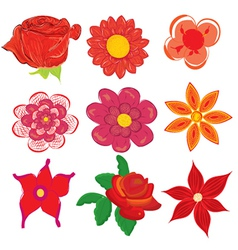 Set of various flower icons vector image