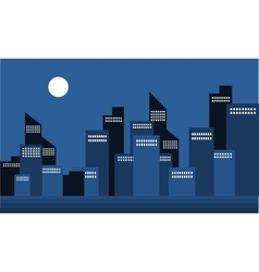 Silhouette of building town at night vector