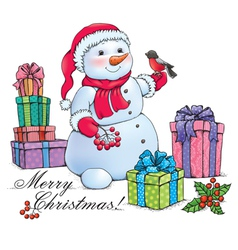 Snowman with christmas vector