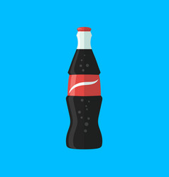 Soda bottle with red lable flat icon vector