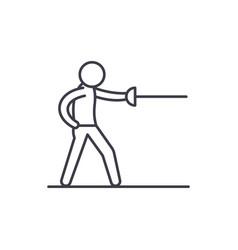 swordsman line icon concept swordsman vector image