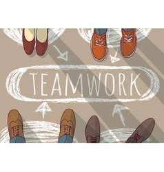 Teamwork group business people and doodles vector